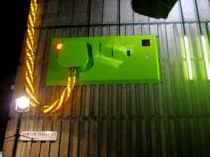 A gigantic plug socket on Ganton Street, London, part of the Carnaby Street Christmas lights.